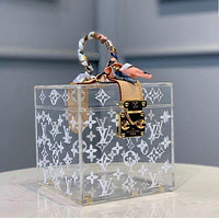 Louis Vuitton LV hot sale new style fashion ladies portable square box bag ribbon jewelry box