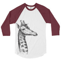 Giraffe Baseball Tee - Mens Unisex Baseball Raglan - Giraffes - Gift Ideas - Gifts For Him - Gifts For Her - Vintage Baseball Shirt Birthday