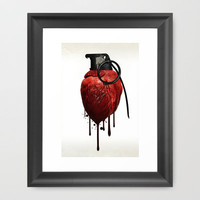Heart Grenade Framed Art Print by Nicklas Gustafsson