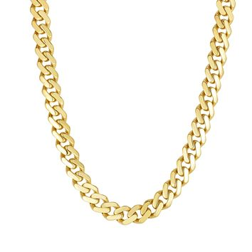 """14k Yellow Gold Miami Cuban Link Chain Necklace, Width 9.5mm, 22"""""""
