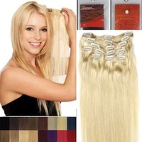 """Alexxis 18"""" Clip in Human Hair Extensions, 10pcs, 100g, Color #613 (Lighter Blonde)"""