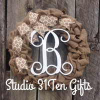 burlap monogram  wreath, burlap wreath, personalized christmas gift, vine font letter door hanger