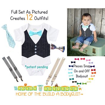 Baby Shower Gift Baby Boy Bundle Bow Ties Vest Suspenders