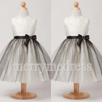 White Crew Wide Straps Bowknot Long Ball Gown Flower Girl Dress, Black Tulle Formal Evening Party Prom Dress New Homecoming Dress