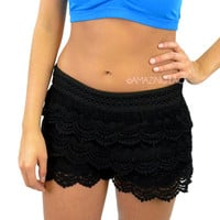 Cookie Cakes Lace Crochet Layered Doll Shorts