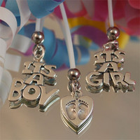 Pregnancy Belly Button Rings-Sterling Silver Charm