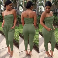 2016 summer new 3 colors fashion women rompers and jumpsuit strapless womens sexy bodysuits one piece elegant  jumpsuits NX114
