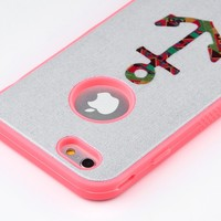 ULAK 3 in 1 Hybrid Pattern Series Hard Case Cover for iPhone 6 4.7/ iPhone 6s 4.7 inch (Colorful Anchor-Neo Red)