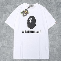 "A Bathing Ape in Lukewarm Water Tide brand ""A Bathing Ape"" letter printed round neck half-sleeved shirt white"