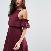 ASOS Crop Top Ruffle Sleeve Mini Dress at asos.com