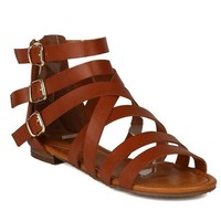 Breckelles Womens Covina-14 Strappy Flat Sandals
