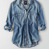 AEO Double Pocket Chambray Shirt, Dark Wash