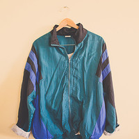 90's  Forrest Green Blue Black Windbreaker Oversized Nylon Wind Breaker Jacket Coat Size  Large L  Club Ravewear Clubkid