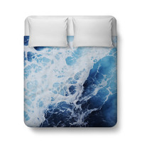 Blue Ocean Surf 2 - Duvet Cover, Coastal Bedroom Decor Throw Cover, Nautical Surf Waves Deep Blue Bedding Accent. In Twin Full Queen King