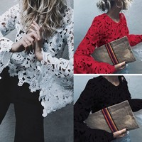 Fashion Stylish 3 Colors Ladies Lace Tops [217288671247]