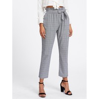 Tie Waist Glen Plaid Frill Pants Casual