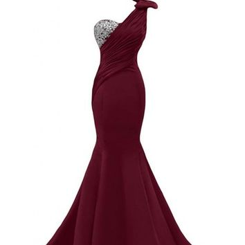 Sunvary Sexy Mermaid Prom Gowns for Pageant Formal Dresses Long US Size 10- Burgundy