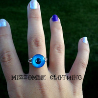 BLUE DRAGON eye glass  Ring  adjustable ring, silver plated Limited