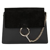 Chloe Faye Black Leather Shoulder Bag