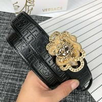 Versace 2018 new trend classic snake head circle casual smooth buckle belt