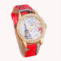Womens Eiffel Tower Casual Sports Watches with Diamond Girls Leather Strap Wrist Watch Best Christmas Gift