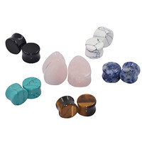 D&M Jewelry 6 Pairs Kit Saddle Double Flared Tunnels Ear Plugs Expander Gauge 14MM