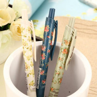 1 piece lot 3 Colors New Cute Cartoon Vintage Flower Ballpoint Ball Pens Plastic Kawaii Stationery Creative Gifts Free shipping