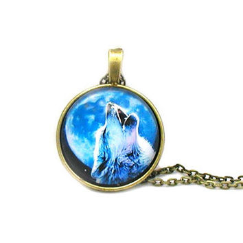 Howling Wolf Necklace, Full Moon Necklace, Wolf Necklace, Wolf Pendant, Wolf Jewelry, Blue Moon Necklace, Cabochon Necklace, Gray Wolf