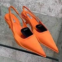 Prada new stitching color ladies high-heeled sandals Shoes