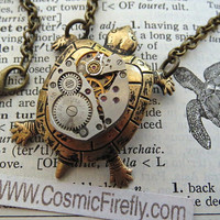 Steampunk Necklace Brass Turtle Necklace Vintage Watch Movement Nautical Sealife Jewelry Antiqued Brass Rolo Chain Handcrafted Jewelry