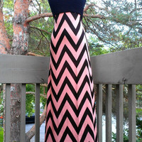 Maxi strapless summer dress black and champagne chevron