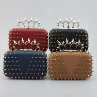 Spike Knuckle Ring Rivet Hard Box Evening Clutch Black