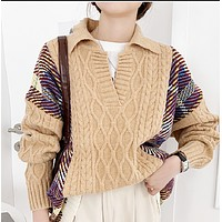 New style hot retro contrast color thick stitch fashionable top