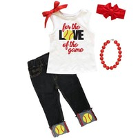 Softball Love Of The Game Outfit Tank Top And Denim Capri