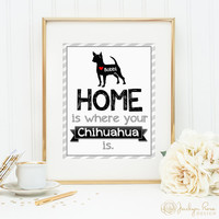 Home is where your Chihuahua is, Printable wall art decor, Personalize with dog's name (Custom digital download - JPG)