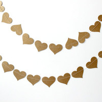 Kraft Paper Heart Garland - Valentines Day - Birthday, Party Decor - Wedding Decoration - Baby Shower - Bridal Shower