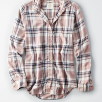 AE Ahhmazingly Soft Plaid Boyfriend Shirt, Blush