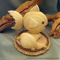 Nautical business card holder Tropical Fish made of shells