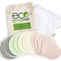 Washable Organic Nursing Pads (10 Pack) | Ultra Soft Reusable Bamboo Breastfeeding Pads | Multi-Pack