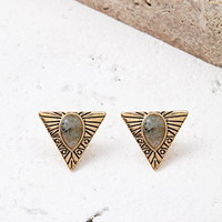 Etched Faux Stone Triangle Studs