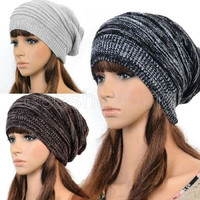 New Women Ladies Winter Knit Hat Plicate Baggy Cap Hat Knitted Ski Beanies = 1958055940