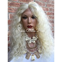 """LANA~ Light Blonde Hair Wavy Lace Part Front Wig 18"""""""