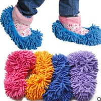 2 PCS Mop Slippers Lazy Quick House Floor Polishing Dusting Cleaning Foot Socks Shoe lovers shoes(color random) = 1669387780
