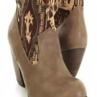 Taupe Faux Leather Printed Canvas Fabric Ankle Booties