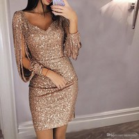 Size S M L XL Long Sleeve Maxi Dresses Women Party Shinny Sequin Dresses For Women Club Evening Cocktail Clothings 5 Colors