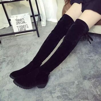 Hot Deal On Sale Round-toe With Heel Stretch Slim Boots [9138740487]