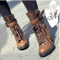 ICIKIX3 2015 Winter Women Genuine leather high heels motorcycle boots ankle boots for women chunky platform black brown = 1946735364