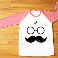 Mustache Shirt Pott Head T-Shirt Harry Potter TShirt Funny Shirt Red Sleeve Shirt Women Shirt Men Shirt Unisex Shirt Baseball Shirt S,M,L
