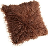 Brentwood 18-Inch Mongolian Faux Fur Pillow, Chocolate