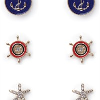 Set of Three Nautical Earrings with Star and Anchor